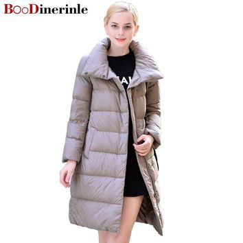 BOoDinerinle 2017 New Winter Jacket Women Long Section of Thick Down Jackets Filled White Duck Down Coat doudoune femme YR027