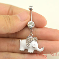 belly ring,elephant belly button jewelry,white elephant belly button rings,elephant navel ring, piercing bellyring,friendship piercing