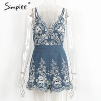 Simplee Embroidery v neck summer jumpsuit romper Strap elegant jumpsuit women floral playsuit  sexy zipper short overalls