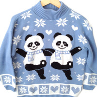 Vintage 80s Dancing Pandas Tacky Acrylic Ugly Christmas Sweater