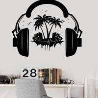 Vinyl Wall Decal Headphones Sound Teen Room Music Decor Stickers Unique Gift (ig3522)