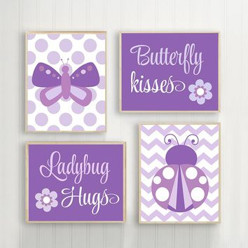 Butterfly Kisses, Ladybug Hugs, Baby Girl Nursery Wall Art, Purple Girl Bedroom Wall Decor Canvas or Prints Girl Quote Decor, Set of 4