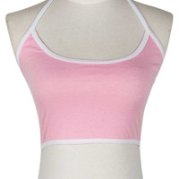 Pink Halter Tight Crop Tank Top