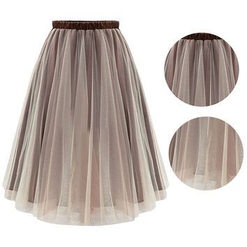 Flare Pleated Organza Skirt