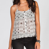 Full Tilt Ethnic Print Womens Top White/Black  In Sizes