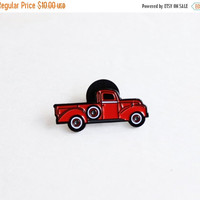 """christmas in july sale // Vintage Inspired Red Pickup Truck Lapel Pin Badge -1.25"""" soft enamel, retro, 1950s style, Father's Day gift"""