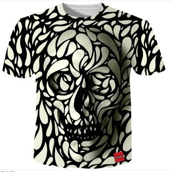Skull Black White Face Print 3D Print Both Side Hip Hop Short Sleeve Mens