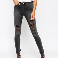 ASOS Ridley High Waist Ultra Skinny Jeans in severn Charcoal Wash with Extreme Rips