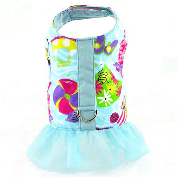 Beach Print Dog Vest Harness with Ruffle