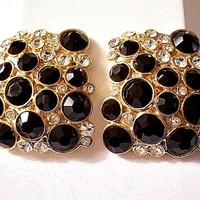 Blanca Black Square Clip On Earrings Gold Tone Vintage Round Crystals