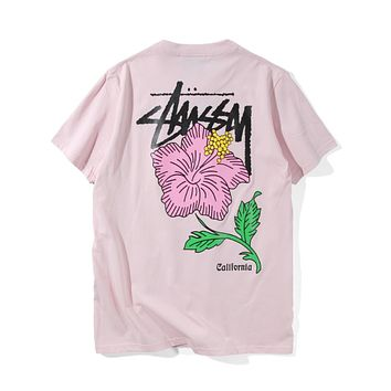 """STUSSY""fashion print round collar  short sleeve T-shirt"