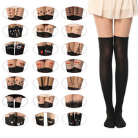 Sexy Black Cute Tattoo Socks Sheer Pantyhose Mock Stockings Tights Leggings