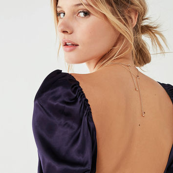 UO Malika Deep V Shiny Cropped Top | Urban Outfitters