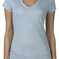 Bella Ladies 100% Cotton Short Sleeve V-Neck Tee T-Shirt - Baby Blue