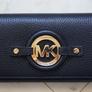 NEW MICHAEL KORS POWDER BLACK FULTON FLAP CONTINENTAL WALLET 38S1CFTE1L $168