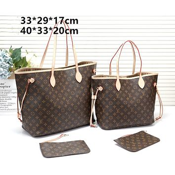 LV tide brand female classic old flower shopping bag mother bag two-piece Coffee print