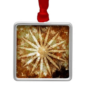 Sun Universe Cosmic Warm Golden Brown Colors Metal Ornament