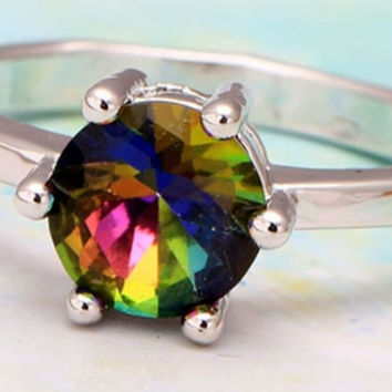 The Mystic Beauty in Mystic Fire Topaz and Tiffany Setting