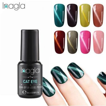 Inagla 8ML Cat Eye Long-lasting Gel Nail Art Magnetic Soak Off LED UV Gel Nail Polish Magnetic 58 Colors Gel Lacquer Gelpolish