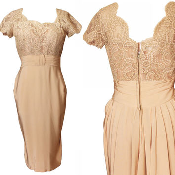 Vintage Emma Domb 1960s Nude Tan Lace & Silk Wiggle Dress | 60s, Neutral Formal Cocktail Wedding Reception | Women's Size Extra Small