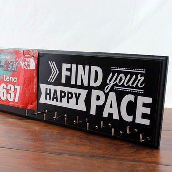 Running Medal Holder and Race Bib Hanger - running medals and race bibs hanger -  Find Your Happy Pace