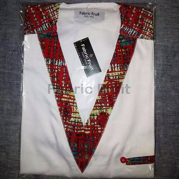 Afro-Western  V-neck styled men's shirt by Fabric Fruit. Step out with style and elegance