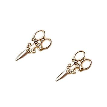 2017 new Arrival small Simple Gold and SIlver plated scissor Stud earrings for women Fancy Jewelry