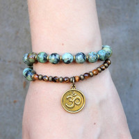 Change and Prosperity, African turquoise and Tiger's eye 27 bead wrap mala bracelet™