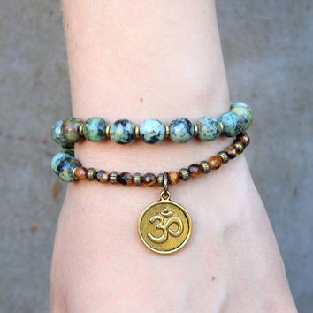 Change and Prosperity, African turquoise and Tiger's eye 27 bead wrap mala bracelet