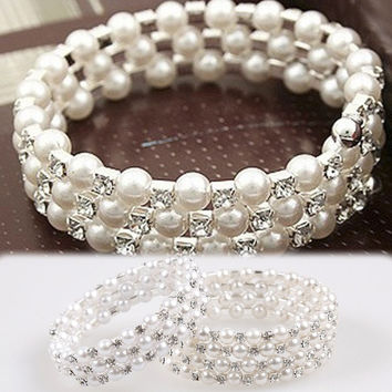 Hot Sale Fashion Lady's Classic Women Elegant Rhinestone Decoration Multilayer Pearl Stretch Bracelet 2 Kinds Of Styles = 1958315396