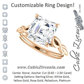 Cubic Zirconia Engagement Ring- The Diamond (Customizable Asscher Cut Solitaire with Braided Infinity-inspired Band and Fancy Basket)