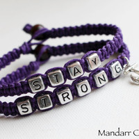 Royal Purple Stay Strong Bracelets, Anchor Charm Jewelry, Recovery Accessory, Gift for Her, Nautical Theme, It Gets Better