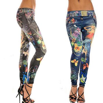 2017 New Women Autumn Winter Jeans Leggings Butterfly  Beauty Pattern Stretch Skinny Pencil Pants Feminino Ropa Mujer Jeggings