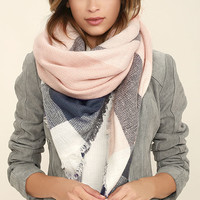 Cheering Section Blush Pink Plaid Scarf
