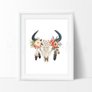 Floral Cow Skull + Feathers, Boho Art