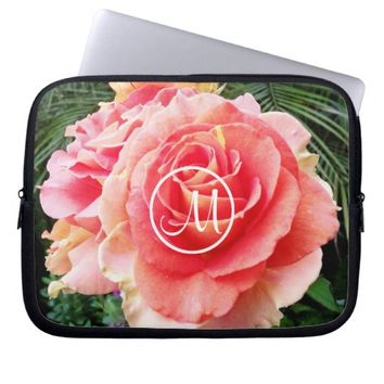 Pink rose photo custom monogram laptop sleeve