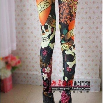 Women Vintage skull clothes stretchy skeleton