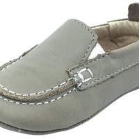 Old Soles Girl's and Boy's Elephant Grey Baby Boat Shoes