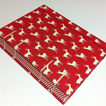 Deers - Handmade Fabric Coptic Stitched Journal Notebook - Lined