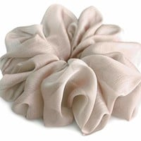 Simply Taupe Large Chiffon Scrunchies Stylish Accessories Hair Band Ponytail Holder Teen Girls Women