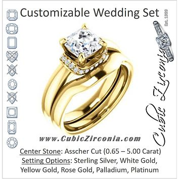 CZ Wedding Set, featuring The Jennifer Elena engagement ring (Customizable Asscher Cut featuring Saddle-shaped Under Halo)