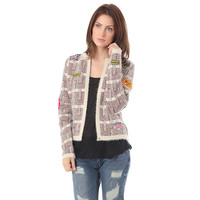 Beige chanel cardigan with multi patch