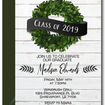 Boxwood Wreath Graduation Invitation