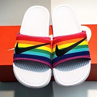 NIKE Summer Hot Sale Women Men Casual Rainbow Couple Sandals Slippers Shoes