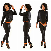 Black with Orange Trim Jumpsuit