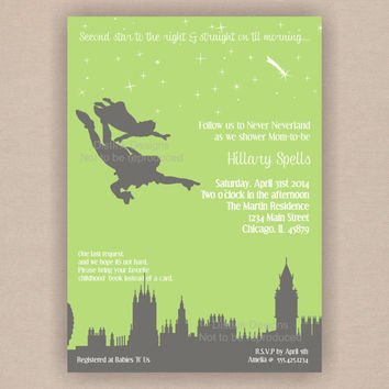 Peter Pan Never Neverland Baby Shower Invitation - Printable 5x7