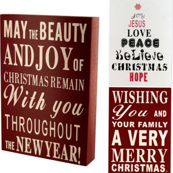 wood block christmas sign Case of 6