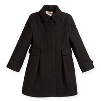 Burberry Naomi Wool-Blend Coat, Black, Size 4Y-14Y