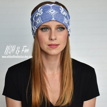 Wide boho headband, Yoga headband, Workout Fitness headband, Ladies blue fashion headwrap, Womens stretch fabric headband, Bohemian turban