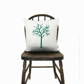 Woodland - Rustic chic home decor - PERSONALIZED tree pillow cover - Your choice of print color, fabric and size (12x18 or 16x16)